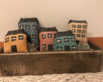 Set of 5 Primitive Saltbox House Bowl Filler, Tuck, Ornie, Shelf Sitter