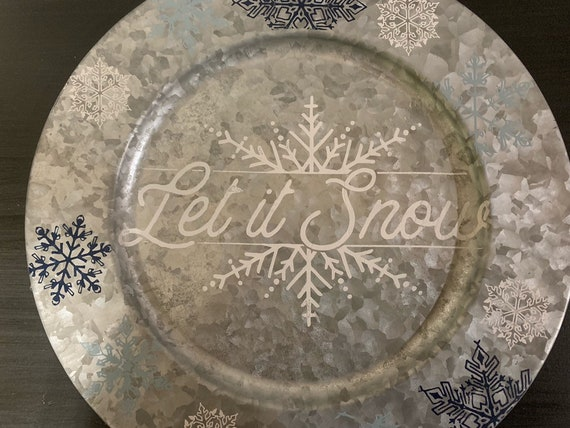 Chalk Couture Let It Snow Galvanized Charger Plate Etsy