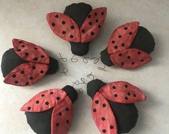 Primitive ladybugs bowl filler, shelf sitter, tuck, ornie