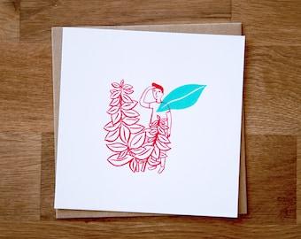Boy in succulents | Screenprint | Les Petites Siestes