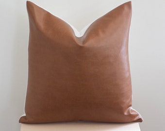 Brown Faux Leather Pillow Cover 20x20 a8c5ec88f913