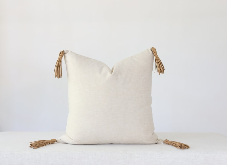 Linen and Leather Tassel Pillow Cover 20x20 Leather Pillow image 0
