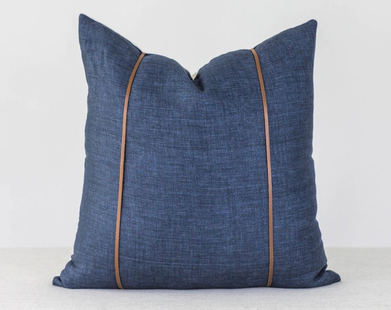 Denim and Leather Pillow Cover 20x20 Throw Pillow Covers image 0