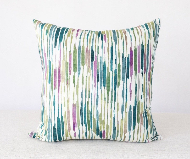 Watercolor Stripe Pillow Watercolor Pillow Teal and Purple image 0