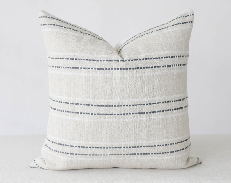 Blue and Beige Pillow Cover 20x20 Throw Pillow Cover 18x18 image 0