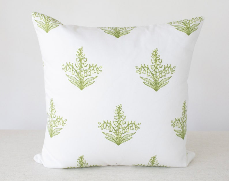 Green and White Floral Pillow Floral Pillow Green Pillow image 0
