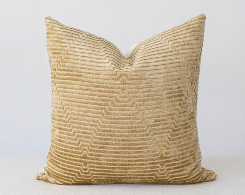 Mustard Velvet Pillow Cover 20x20 Throw Pillow Covers 18x18 image 0