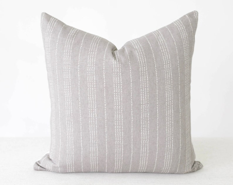 Grey throw pillow with stripes grey pillow dots gray image 0