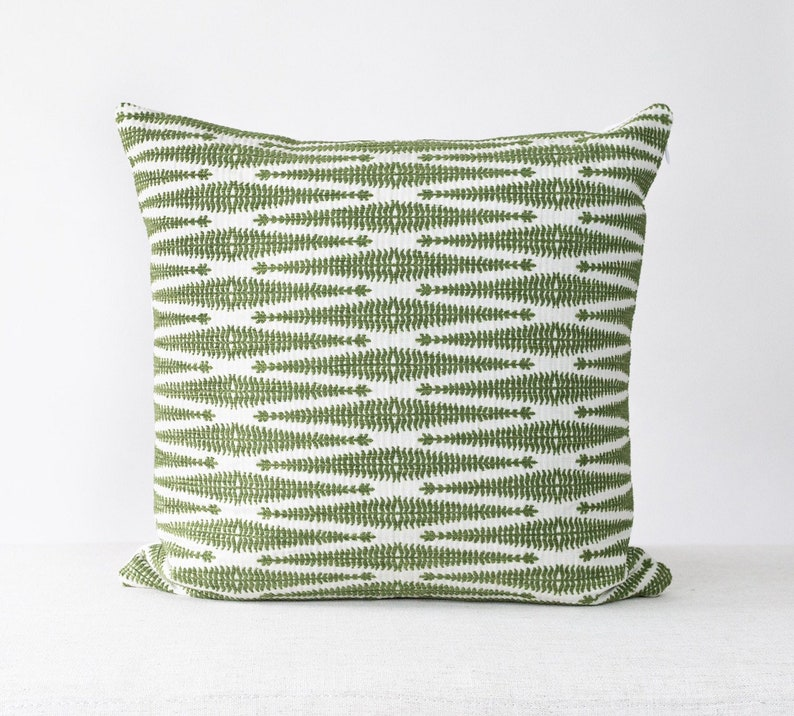 Green and Cream Textured Pillow Cotton Pillow Cover Textured image 0