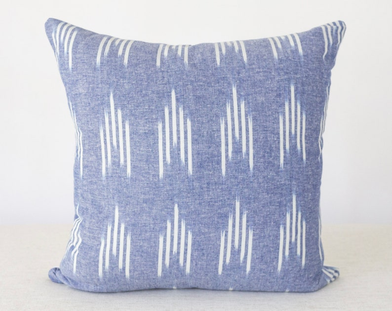 Blue and White Stripe Pillow Stripe Pillow Blue Pillow image 0