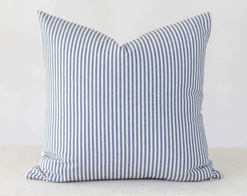Blue and White Stripe Pillow Cover 20x20 Throw Pillow Covers image 0