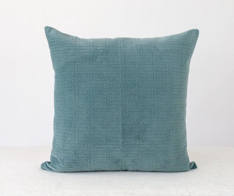 Teal Velvet Pillow Cover 20x20, Contemporary Throw Pillow Covers 18x18, Mid  century modern Pillow Cover, teal textured pillow, Blue Pillow