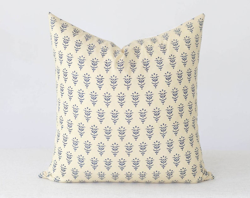 Blue Textured Pillow Cover 20x20 Floral Throw Pillow Covers image 0