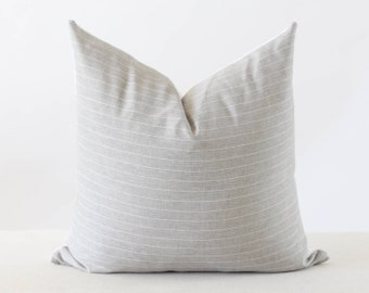 Grey Striped Pillow Cover, Gray Stripe Pillow, Neutral Pillow Covers 20x20, Designer Throw Pillows, Pillow Covers 18x18, High End Pillow