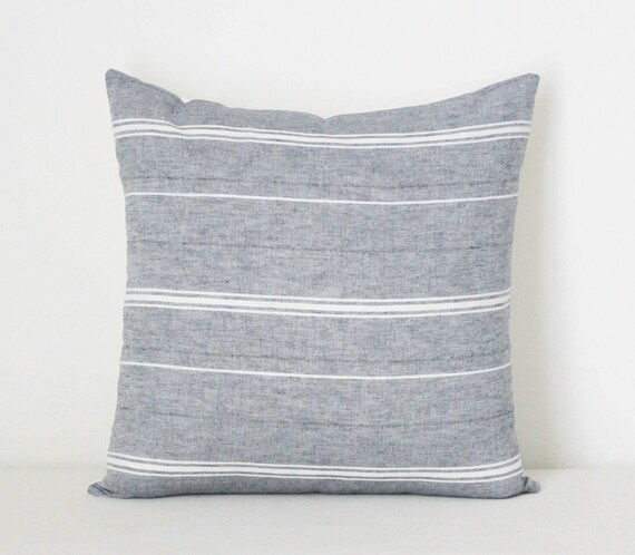 Wondrous Blue Grey Pillow Cover Cotton Pillow Cover Farmhouse Striped Pillow Covers Grey Blue Pillow Cover Gray Stripe Pillow Cover Andrewgaddart Wooden Chair Designs For Living Room Andrewgaddartcom