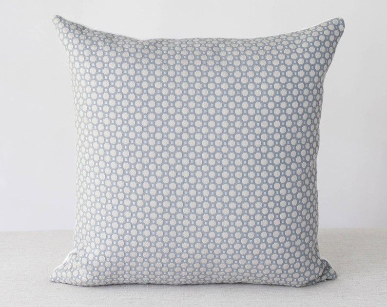 Blue and White Plaid Pillow Cover 20x20 Throw Pillow Covers image 0