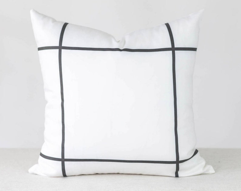Window Pane Pillow Cover 18x18 White and Black Pillow Cover image 0