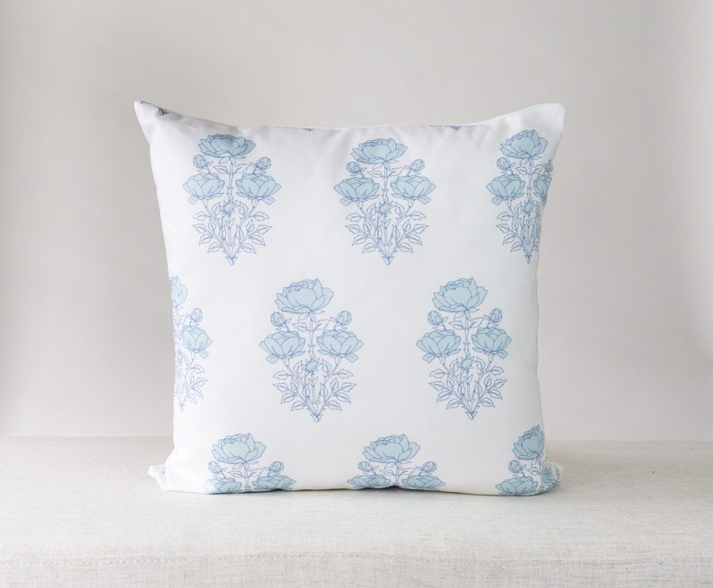 Blue and White Floral Pillow Floral Pillow Blue Pillow image 0