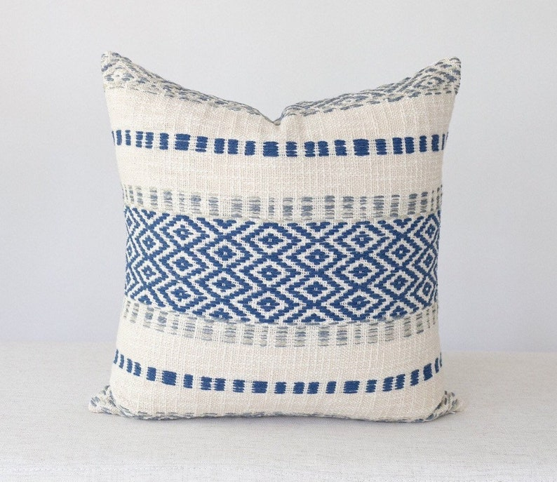 Navy and Grey Blue Knit Pillow Cover 20x20 Throw Pillow image 0