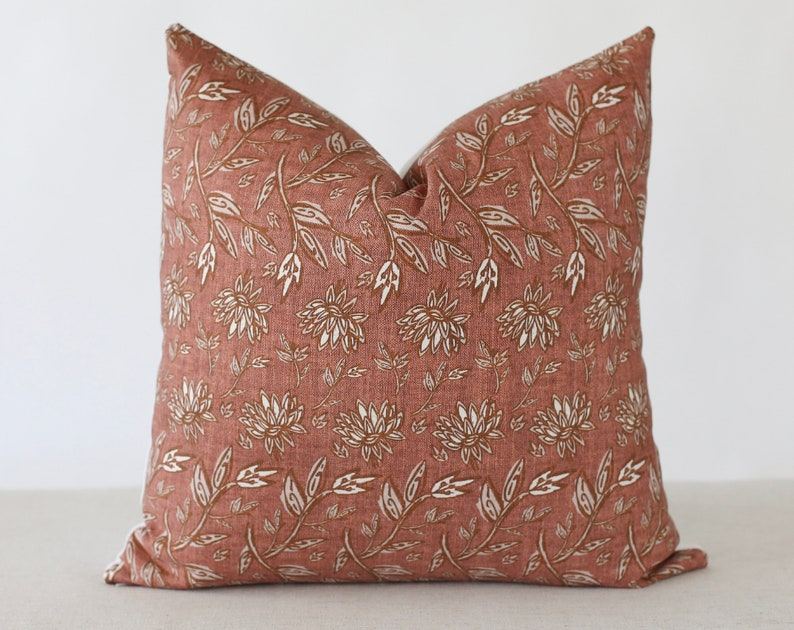 Terracotta Pillow Cover Floral Pillow Covers 20x20 Spring image 0