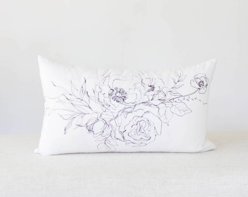 Illustrated Floral pillow Peony Pillow Flower Pillow Cover image 0