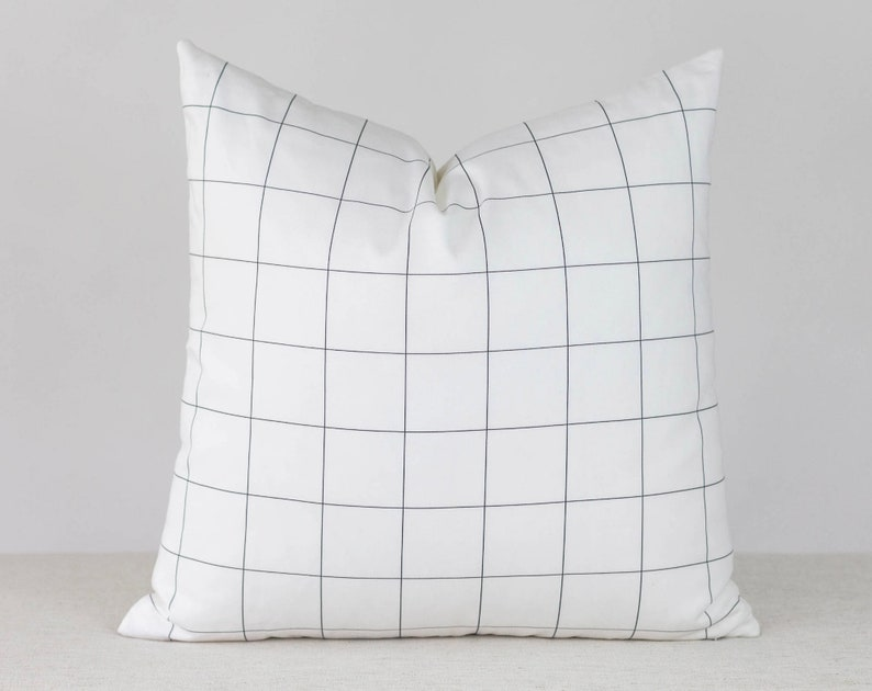 White and Black Plaid Pillow Cover 20x20 Throw Pillow Covers image 0