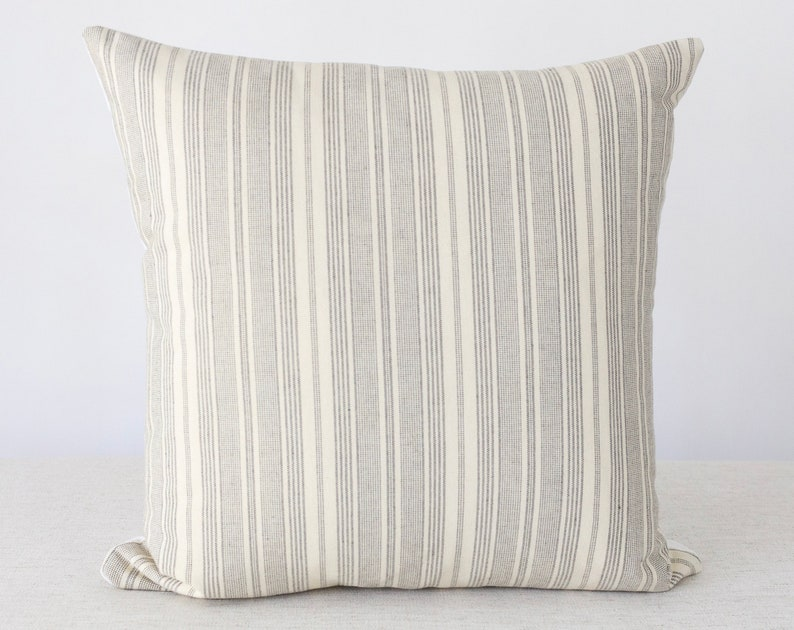 Black and Beige Stripe Pillow Stripe Pillow Black Pillow image 0