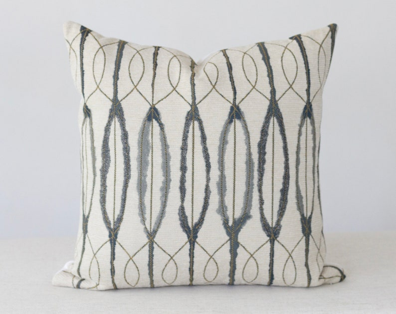 Blue and Cream Abstract Pillow Cover 20x20 Throw Pillow image 0