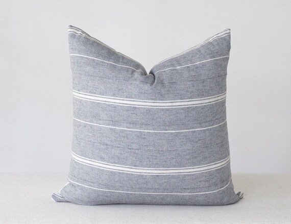 Peachy Blue Grey Pillow Cover Cotton Pillow Cover Farmhouse Striped Pillow Covers Grey Blue Pillow Cover Gray Stripe Pillow Cover Andrewgaddart Wooden Chair Designs For Living Room Andrewgaddartcom
