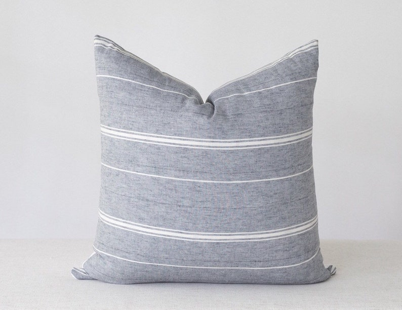 Blue Grey Pillow Cover Cotton Pillow Cover Farmhouse Striped image 0