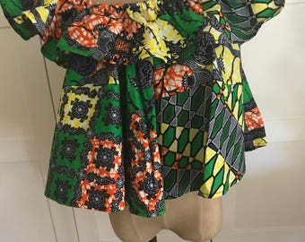Ankara African Ruffled off the shoulder top