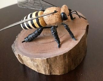 Solitary Bee on Walnut Driftwood Stump S-10