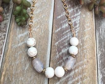 Boho style gemstone beaded necklace.