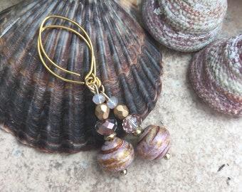 Sweet czech beaded earrings .