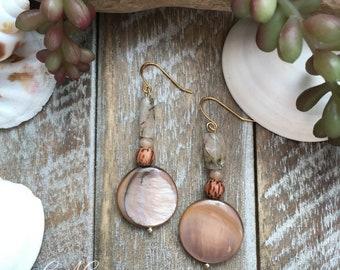 Pretty shell beaded earrings.