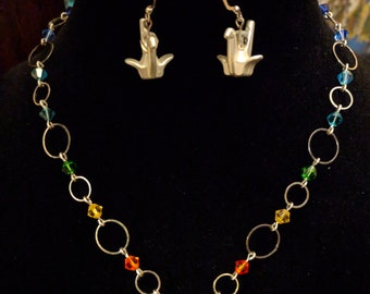 Rainbow Origami Crane Necklace and Earring Set