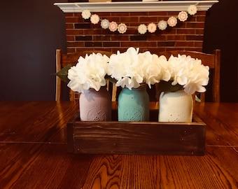 Mason Jar Centerpiece, Farmhouse Centerpiece, Rustic Centerpiece, Planter Box, Rustic