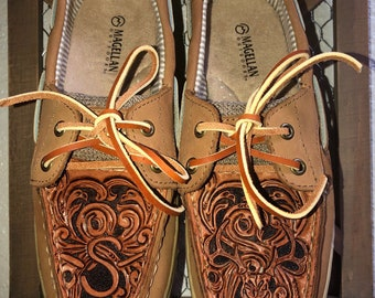 Tooled Leather Topped Shoes 0f80c3230