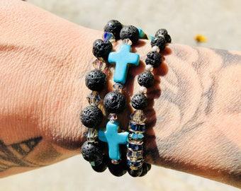 Essential Oil Diffuser Bracelets with Swarvoski Crystals