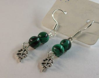 Malachite with clover charm earrings