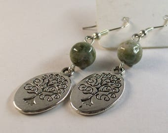 Jasper with Tree of Life charm earrings
