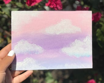 Hand painted Pink Purple Pastel Cloud Sky Canvas Acrylic Painting