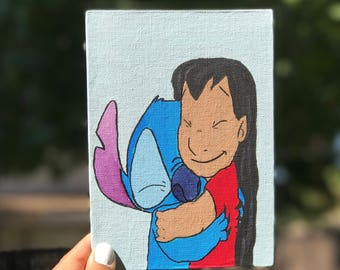Disney Lilo and Stitch hugging Painting on a 7x5 canvas