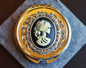 Skeleton cameo silver compact mirror, day of the dead gift, Halloween gift, bridesmaid gift, gothic gift, unique holiday gift ideas for her