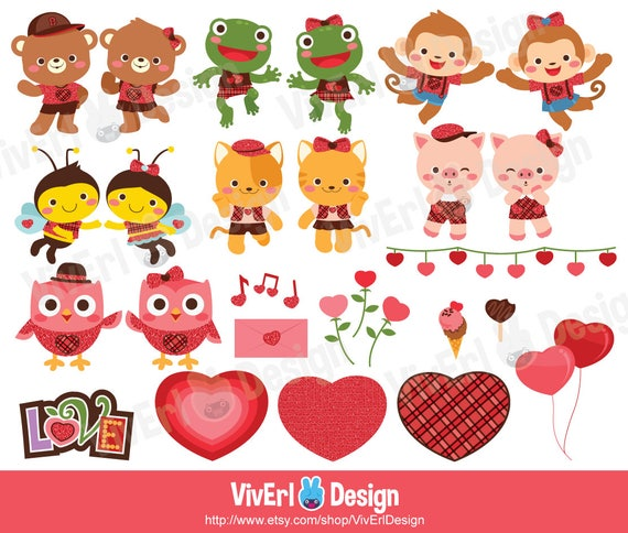 Valentine Clipart Cute Clipart Love Clipart Valentine Etsy