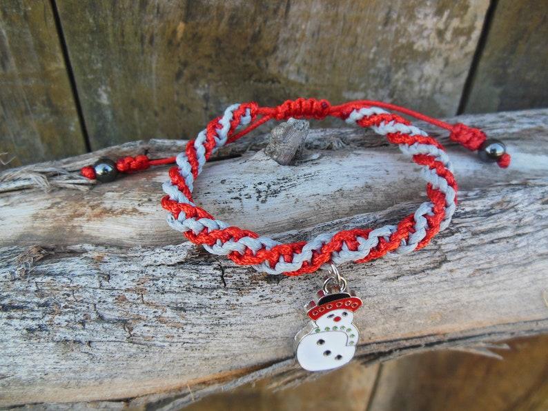 Winter Friendship White Enamel Snowman Charm Spiral Double Helix Unisex Adjustable Bracelet Color Choice Christmas Faux Leather Cord