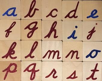 Montessori Sandpaper Textured Letters - D'Nealian Lowercase Cursive