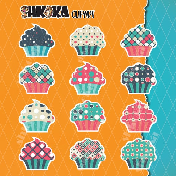 EPS Vector - Retro cupcakes. Stock Clipart Illustration gg57681979 - GoGraph
