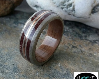 Bentwood Grey maple and walnut ring with copper and stone inlays alternative wedding rings