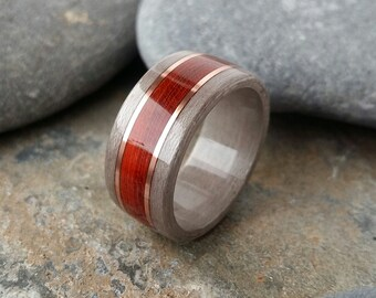 Bentwood ring Grey maple and padauk with copper alternative wedding rings